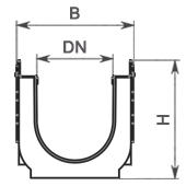 Лоток водоотводный пластиковый ЛВП Profi DN200 комплект с надстройкой, чертеж